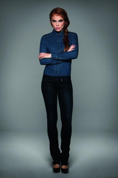 Damen Jeans-Hemd VISION von B&C, blau